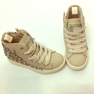 NWT ZARA kids BEIGE bejeweled high top sneakers